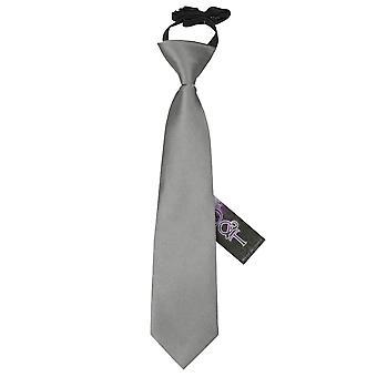 Plaine de platine Satin élastique cravate pour les garçons