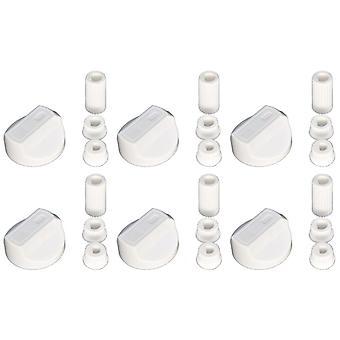 Botões de controlo do forno fogão universal Grill e adaptadores branco cabe todo gás elétrico x 6