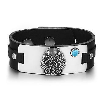 Aztecs Ancient Celtic Knots Wolf Paw Amulet Simulated Turquoise Adjustable Black Leather Bracelet
