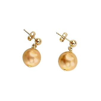 Gemshine - ladies - earrings - pearls - Golden - dripping - gold plated - 11 mm
