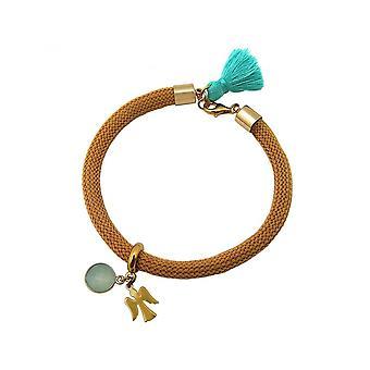Donna - Bracciale - oro placcato calcedonio - gemma - Aqua - Angel - verde - marrone