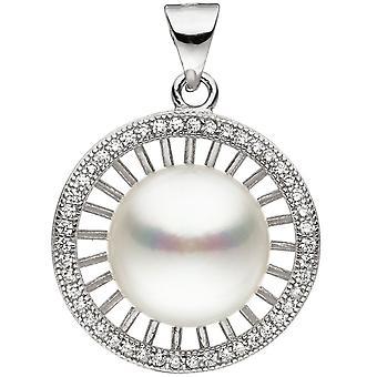 Прицеп около 925 стерлингового серебра 1 Пресноводные перлы с кубического циркония бисера Кулон
