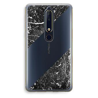 Nokia 6 (2018) Transparent Case - Black marble