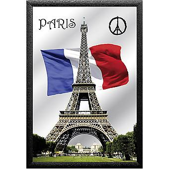 Paris Peace Wandspiegel  farbig bedruckt,  Kunststoffrahmung schwarz, Holzoptik.