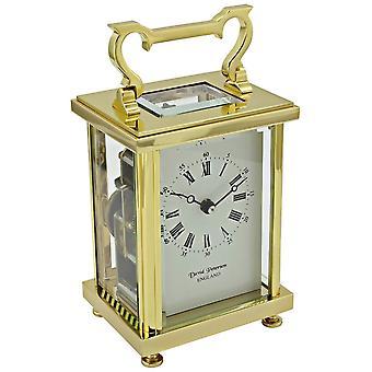 David Peterson Flat Brass 8 Day Bell Strike Movement Carriage Clock - Gold