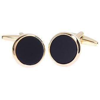 David Van Hagen Shiny Onyx Circle Cufflinks - Black/Gold