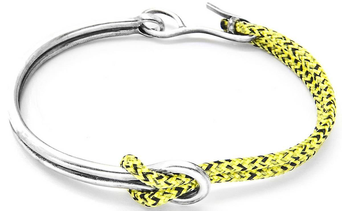 Anchor and Crew Tay Silver and Rope Bangle - Yellow Noir