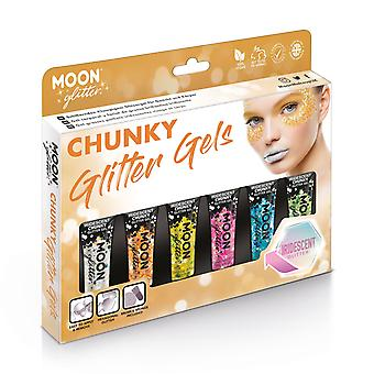 Iridescent Chunky Face & Body Glitter Gel by Moon Glitter - 12ml - Glitter Face Paint - Boxset