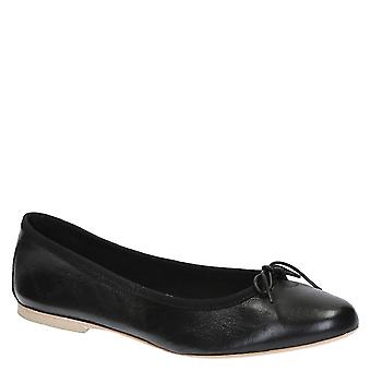 Handmade black soft leather ballet flats ballerinas shoes