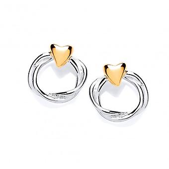 Cavendish French Sterling Silver and Gold Vermeil Heart and Wreath Stud Earrings