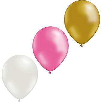 Ballons mélangent 12-pack (4 or/4 blanc/4 rose)