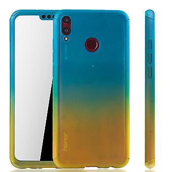 Huawei honor 8 X téléphone housse protectrice affaire plein réservoir protection verre bleu / jaune