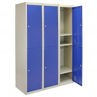 3 x Metal Storage Lockers - Two Doors, Blue - Flatpack
