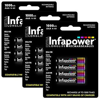 12 x Infapower B002 Rechargeable AAA Ni-MH Batteries 1000mAh