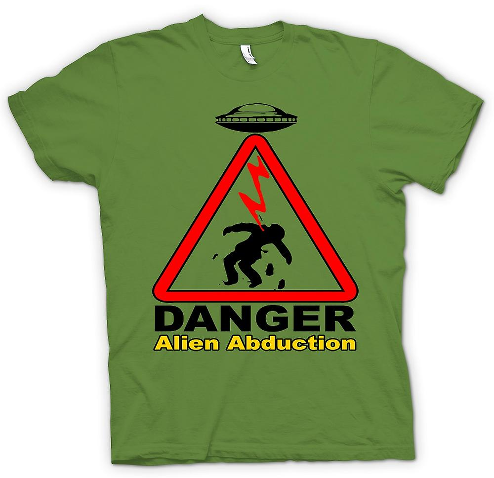 Mens T-shirt - Danger Alien Abduction - UFO - Funny