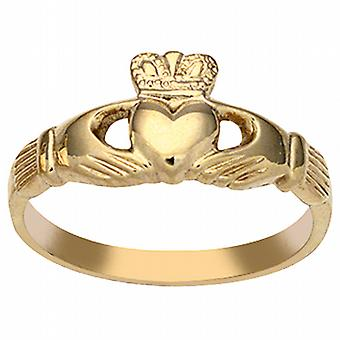 9ct gull 9x24mm damer Claddagh Ring størrelse Q