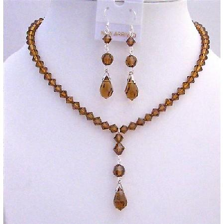 Brown Crystal Smoked Topaz Swarovski w/ Tear drop Pendant Necklace Set