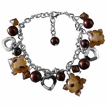 Bruna pärlor pärla hjärta Charm brun pärla tjock fastkedjad armband