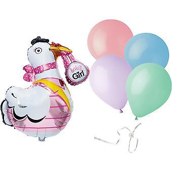 Bebé niña-Stork y látex globos por sellador de globo