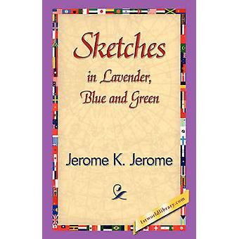 Dibujos en azul lavanda y verde por Jerome K. K. y Jerome Jerome