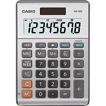 Bureaucalculator Casio MS-80B Silver-Grey display (cijfers): 8 zonne-energie, batterij-Powered (W x H x D) 103 x 29 x 147 mm