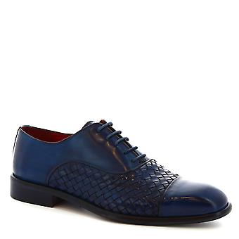 Leonardo Shoes Men's handmade laced up oxfords in blue woven calf leather