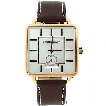 Speedster Gents Brown-Tan Square Dial Analogue PU Strap Smart Watch S242