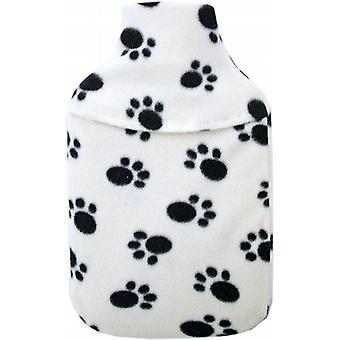 Cosy Fleece 1L Mini Hot Water Bottle & Cover: Paw Print