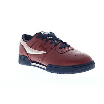 Fila original fitness Mens rouge en cuir bas haut lacets baskets chaussures