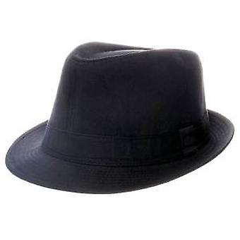 Plain Black Cotton Trilby Hat