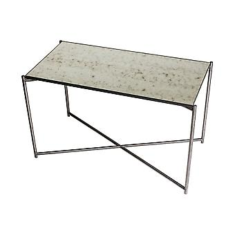 Gillmore Space Antiqued Glass Rectangular Side Table With Gun Metal Cross Base