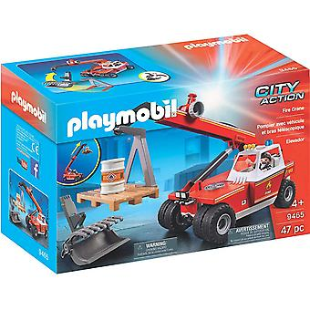 Playmobil 9465 City Action Fire Crane with Pallet Fork Attachments