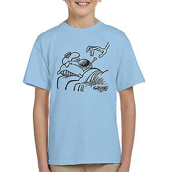 Grimmy syg i sengen Kid's T-shirt