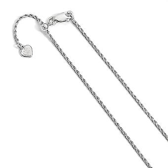 1,4 mm 925 Sterling Silber poliert Sparkle-Cut Rhodium-beschichtetEn Hummer Kralle Verschluss verstellbare Seil Kette Halskette - Leng
