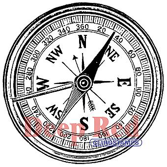 Deep Red Cling Stamp Compass 3X404268