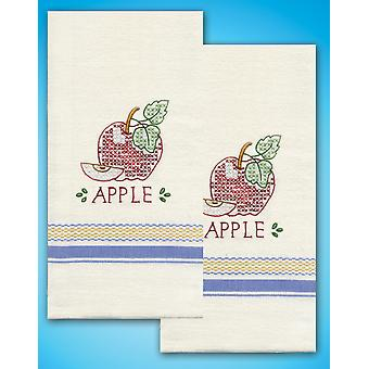 Stamped Kitchen Towels For Embroidery Apple T212938
