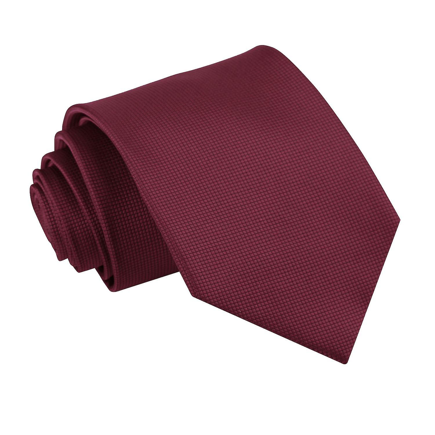 Solid Check Burgundy Tie