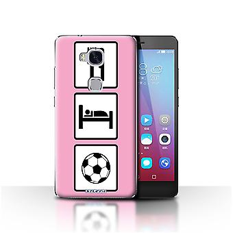 STUFF4 Case/Cover for Huawei Honor 5X/GR5/Football/Soccer/Pink/Eat/Sleep