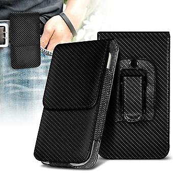 ONX3 (Carbon Black) Kyocera DuraForce Pro Case High Quality Faux Leather Vertical Executive Pouch Holster Belt Clip Cover Case