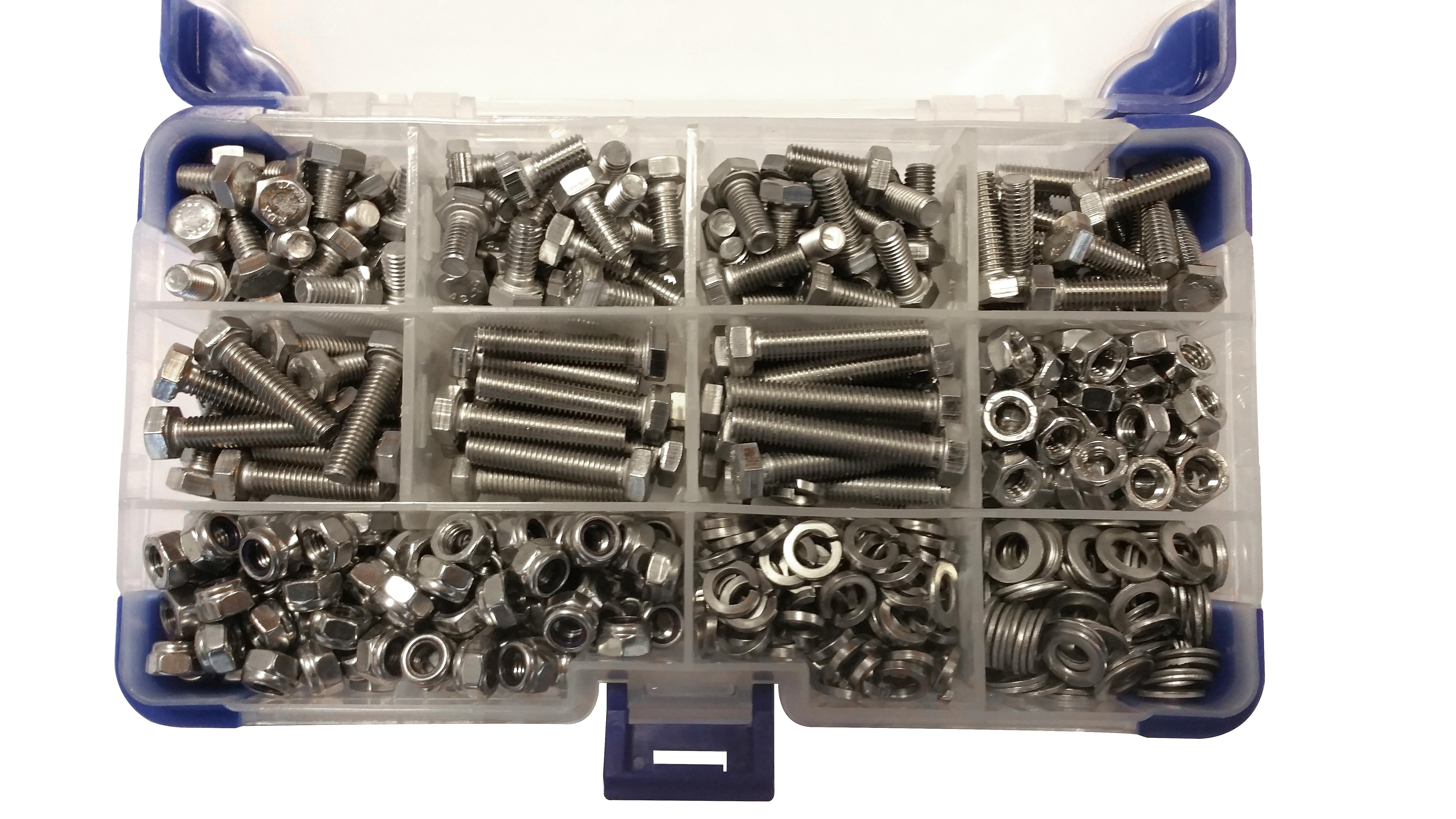 360 Piece M6 Zinc Plated Hex Setscrews with Nuts and Washers