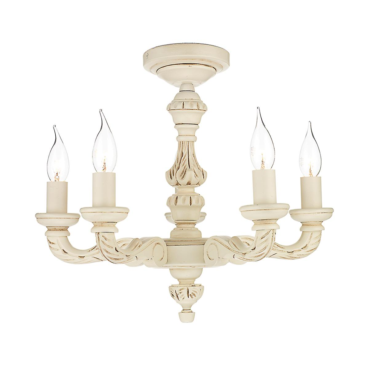 David Hunt TUD0533 Tudor 5 Light Dual Mount Pendant With A Cream Finish