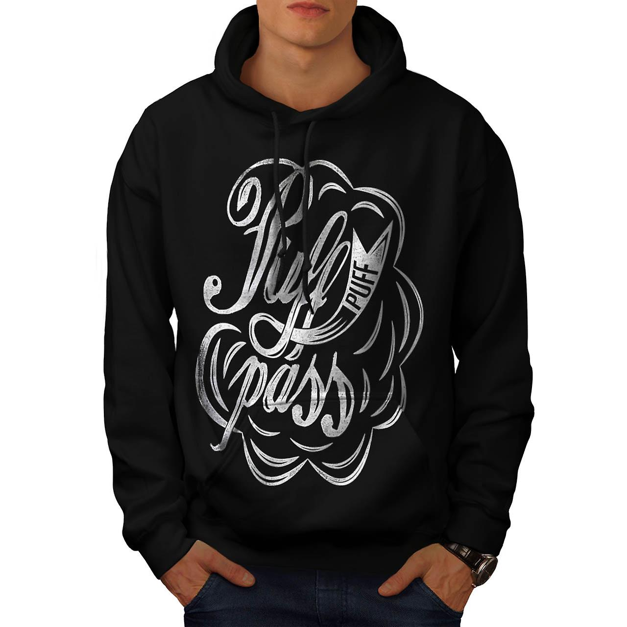 Puff and Pass Bong Spliff Weed Men Black Hoodie | Wellcoda