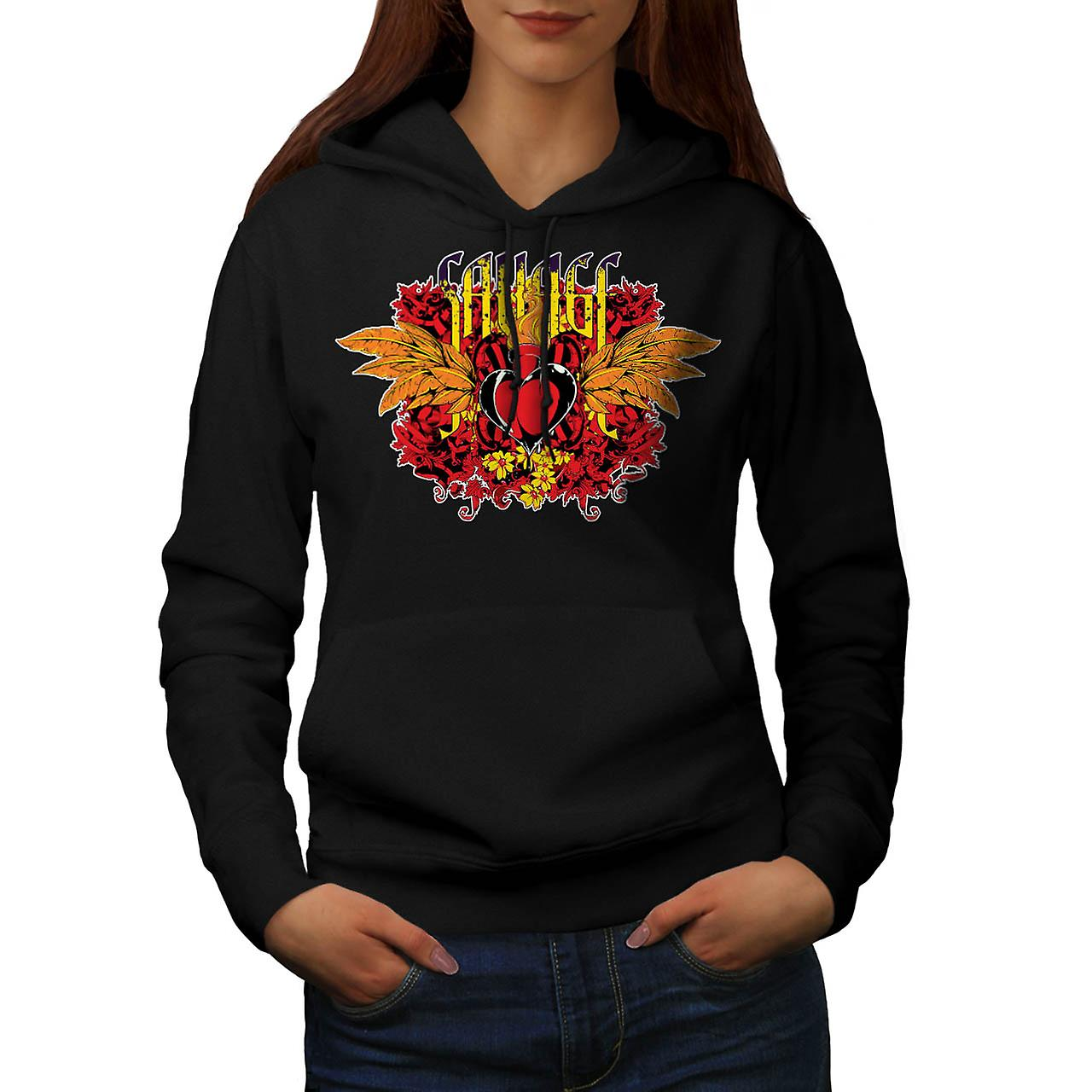Savage Heart Cool Fashion Women Black Hoodie | Wellcoda