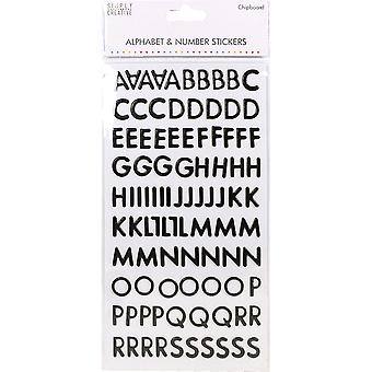 Simply Creative Alphabet & Number Stickers-Skinny Chipboard Black SCSTK011