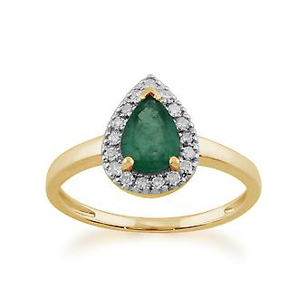 Gemondo 9ct Yellow Gold 0.66ct Pear Shaped Emerald & Diamond Cluster Ring