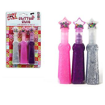 Glitter Glue Sparkles Pink Purple Silver Kids Arts Crafts School Pack of 6