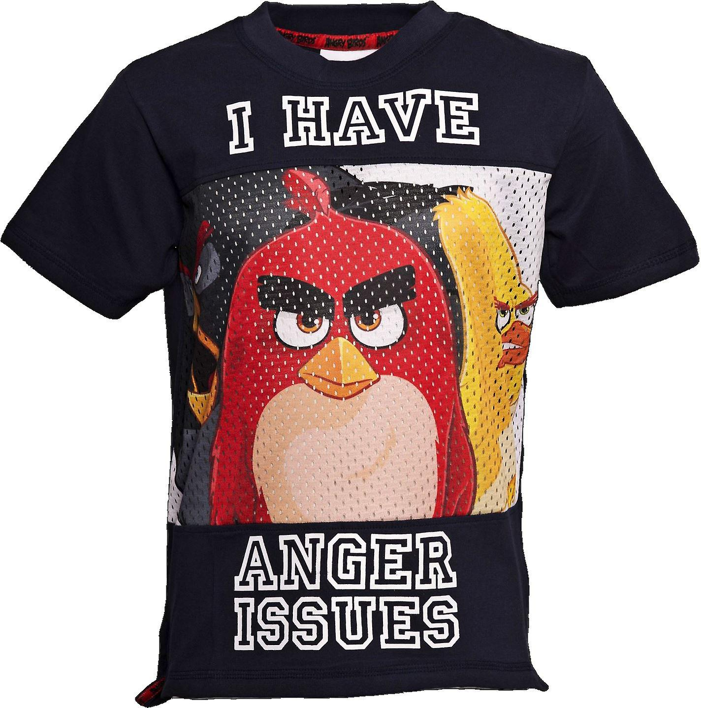 ANGER ISSUES | ANGRY BIRDS MOVIE | Official Licensed | Angry Bird Baseball Style T-Shirt | Age 7-8