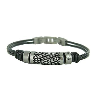 Fossil mens bracelet stainless steel leather black JF00937797