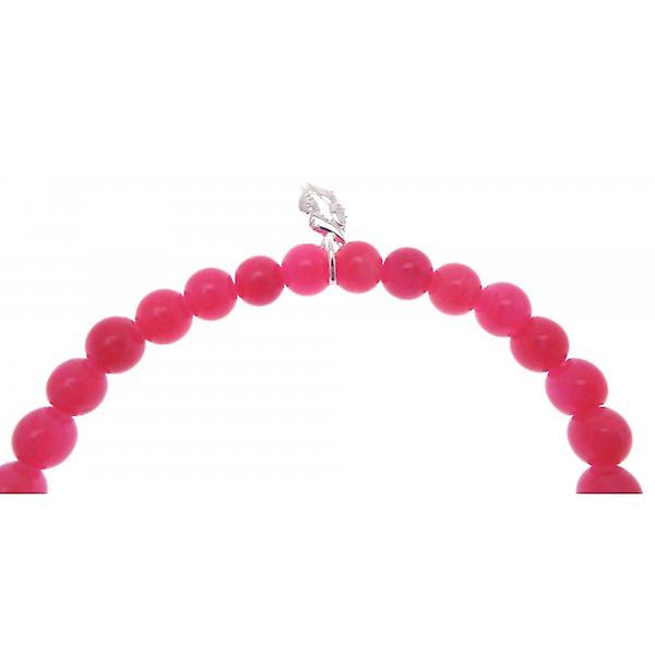 W.A.T 925 Sterling Silver 'Life Is What You Make Of It' Hot Pink Jade Quote Bracelet