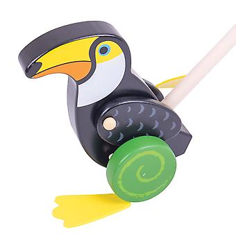 Bigjigs Toys Wooden Toucan Push Along - Walking Toys for Babies and Toddlers